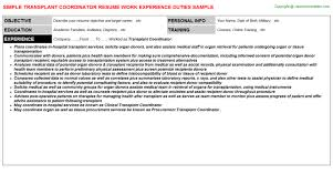 Coordinator Resume Sample by Transplant Coordinator Resume Sample