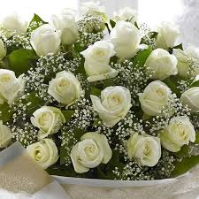 baby breath classical and bouquet with white roses and baby