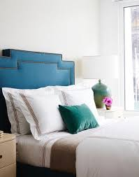 White And Brown Bedroom Blue Velvet Headboard With White And Brown Hotel Bedding