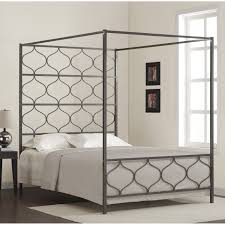 Stainless Steel Bedroom Furniture Grey Stainless Steel Canopy Bed With Grey Blanket And White