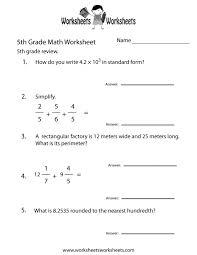 worksheets for fifth grade math koogra