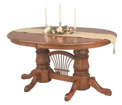 amish double pedestal dining table extending leaf solid wood