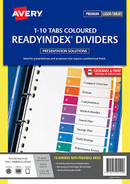multi coloured readyindex dividers 1 10 tabs 920122 avery