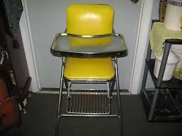 Vintage Cosco High Chair Vintage Cosco Metal Chrome High Chair Stool Red W Vinyl Seat 50s W