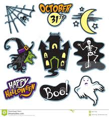 haunted house halloween collection with witch skeleton and ghost