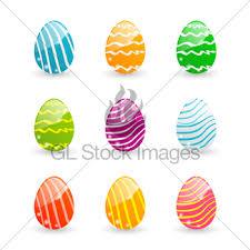 easter set colorful ornamental eggs on green leaves backg gl