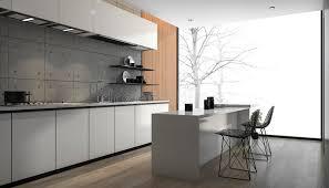cuisine contemporaine blanche et bois 3d rendant la cuisine moderne blanche avec le plancher en bois