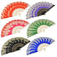 decorative fan bulk brightly colored foldable fans with glitter accents 17 in