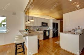 Kitchens With White Cabinets And Black Appliances Kitchen Room With Paneled Ceiling White Cabinets With Black