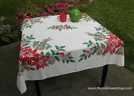 christmas tablecloth vintage christmas tablecloth with candles poinsettia and shiny