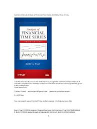 solutions manual analysis of financial time series 3rd ed by ruey