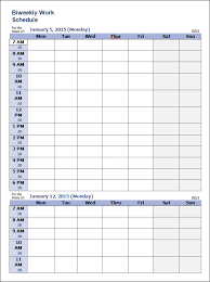 weekly work schedule templates