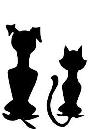 dog and cat silhouette tattoo