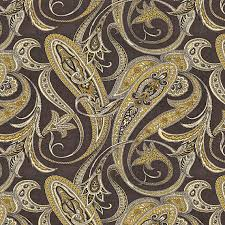 Drapery Fabrics Black And Gold Paisley Linen Fabric Contemporary Drapery