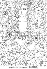 vector coloring beautiful flowered dress stock vector