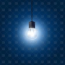 blue free light bulbs light bulb hanging on cord on blue background royalty free vector
