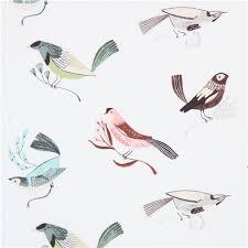 white fabric colorful cute bird dear stella usa animal fabric