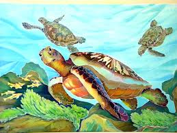 sea turtles painting on silk batik wall hanging original
