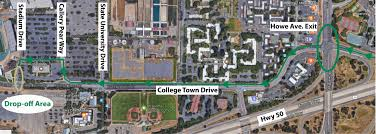 Sacramento State Campus Map by Bus Drop Off