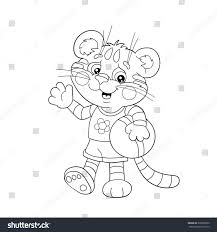 coloring page outline little tiger ball stock vector 336598670