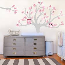 white vinyl tree wall decal bird with swing sticker gray large size baby nursery interesting tree wall decal pink owl and pattern leaves