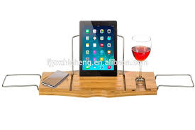 Wine Glass Holder For Bathtub Bamboo Bath Tray With Wine Glass Holder Bamboo Bath Tray With
