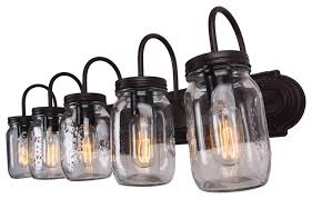 Felix 4 Light Cage Vanity - mason jar vanity light oil rubbed bronze 5 light industrial