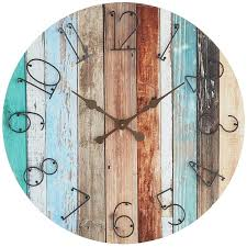 multi colored shore drenched wall clock wrought iron decor