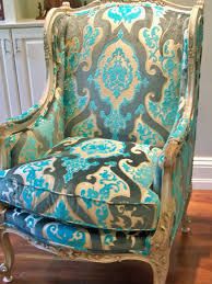 turquoise chair slipcover dreste designs an antique wing chair recovered in