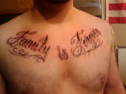 tribal and lettering tattoos for chest real photo pictures