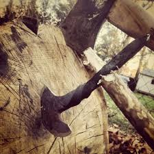this is one of the railroad spike hatchets i made in my backyard