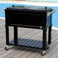 Patio Ice Cooler by New Black 80 Quart Party Cooler Rolling Patio Ice Chest 2 Sides