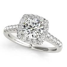 rings with square images Fashionable square halo diamond engagement ring round cut jpg