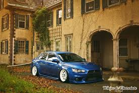 mitsubishi evo stance bagging a rally inspired car
