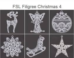 fsl white free standing lace ornament machine embroidery