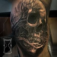 black and gray style detailed biceps of human skull