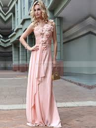 rosette detailed composite filament long prom dress with draped skirt