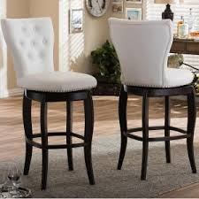 Baxton Studio Bar Stools Baxton Studio Leonice Gray Fabric Upholstered 2 Piece Bar Stool