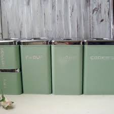 green canisters kitchen lincoln beautyware vintage canister set from willowsendcottage
