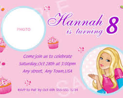 barbie invitation etsy
