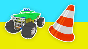 monster trucks kid video kids cars 3d learn colors huge bus with superhero monster trucks
