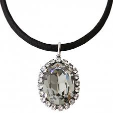 swarovski black necklace images Black cotton lace necklace with swarovski crystals black diamond jpg