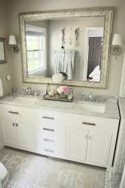 master bathroom reno reveal gray white marble and subway tile