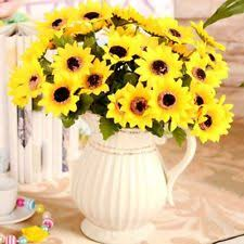 Fake Sunflowers Sunflower Bunches Faux Silk Floral Décor Ebay