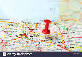Spain On A Map Close Up Of Logrono Spain Map And Red Pin Travel Concept Stock