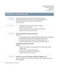 Resume Templates Printable Resume Accounting Clerk Resume Samples