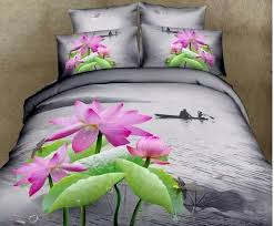Dragonfly Comforter 3d Water Lily Lotus Floral Bedding Sets King Queen Size Quilt
