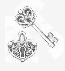 heart shaped lock and key couples tattoo design by srtaquesadilla