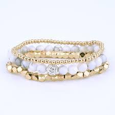 bracelet sets white howlite bead bracelet set gold strand beaded woman