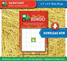 barnyard baby shower game bingo card farm animal baby shower